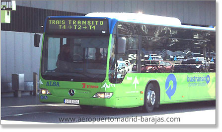 Shuttle bus between Madrid airport terminals
