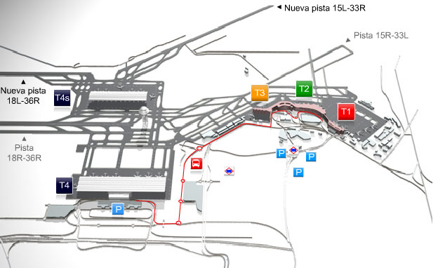 Madrid Airport Map Madrid Barajas Airport (MAD)   Passenger terminals T1, T2, T3, T4 T4S